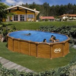 Сборный бассейн GRE Dream Pool PROV6188WO (610х375х132) с облицовкой «под дерево»