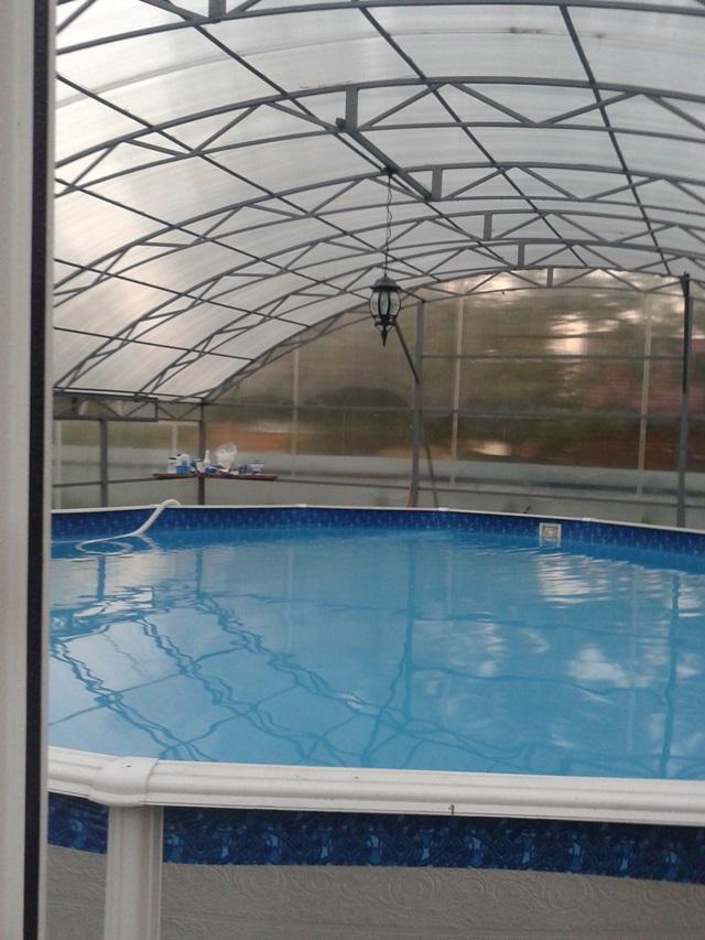 каркасный бассейн в закрытом павильоне